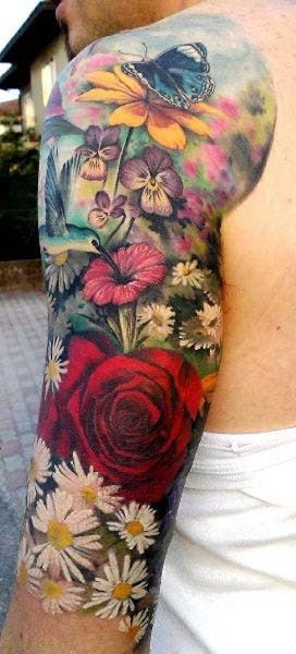 Plenty of colorful flowers tattoo for men on arm