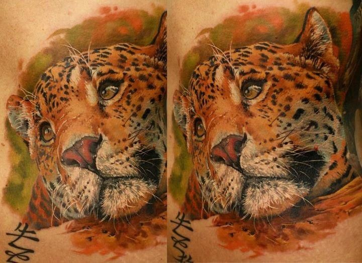 Realism style colored leopard tattoo