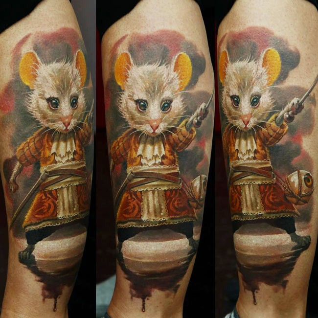 Realism style colored tattoo of mouse with stick