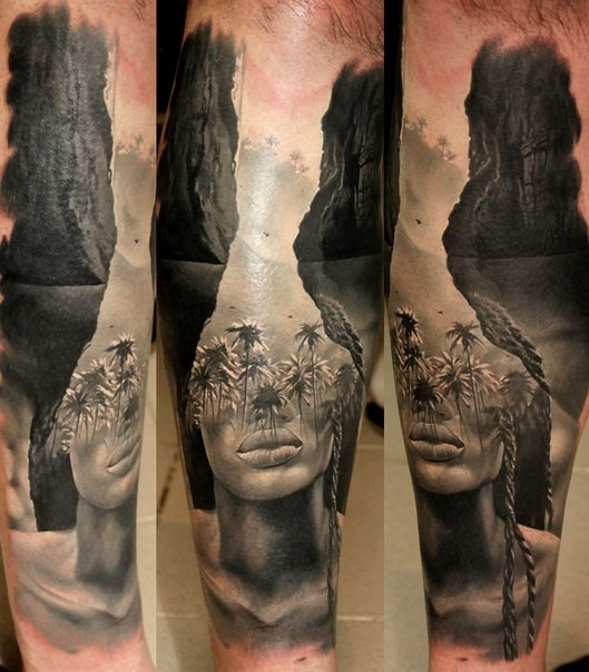 Realism style original combined tattoo of sea lagoon with palm trees and woman face