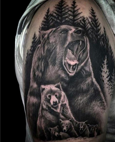 Realistic looking black ink wild bear family tattoo on shoulder
