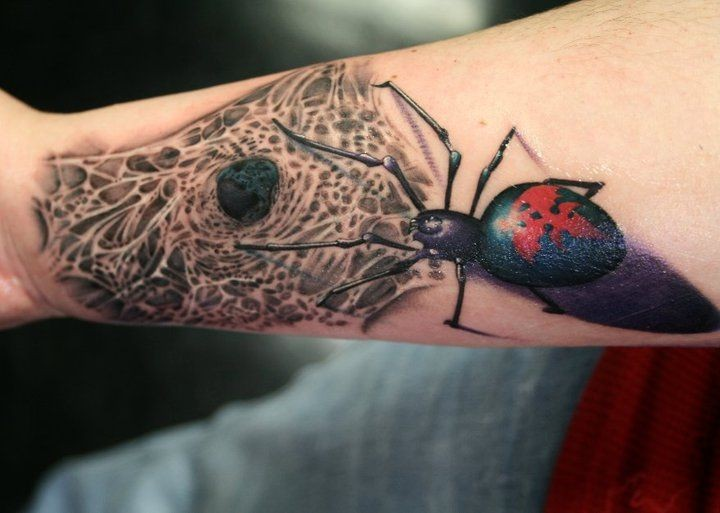 Realistic looking colored forearm tattoo of big spider with web