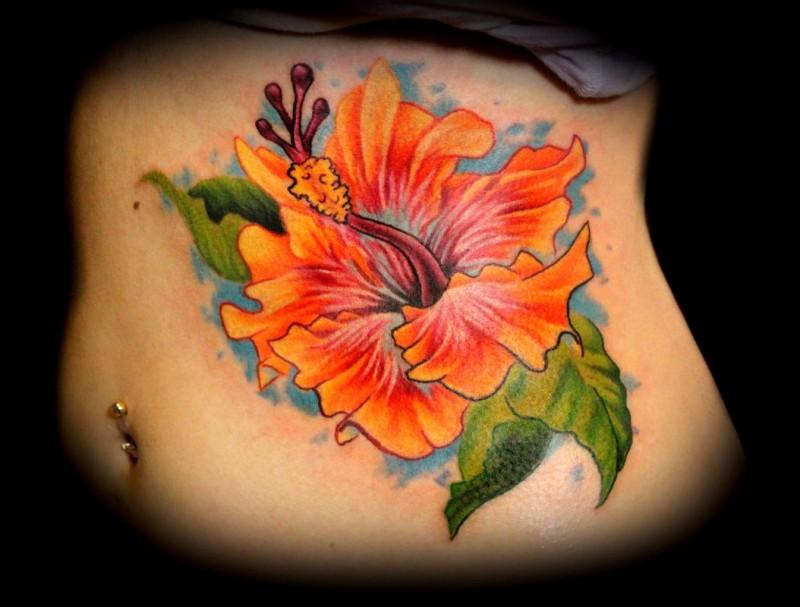 Realistic orange hibiscus flower tattoo on ribs