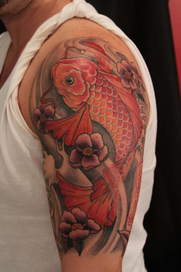 Red koi fish tattoo on half sleeve