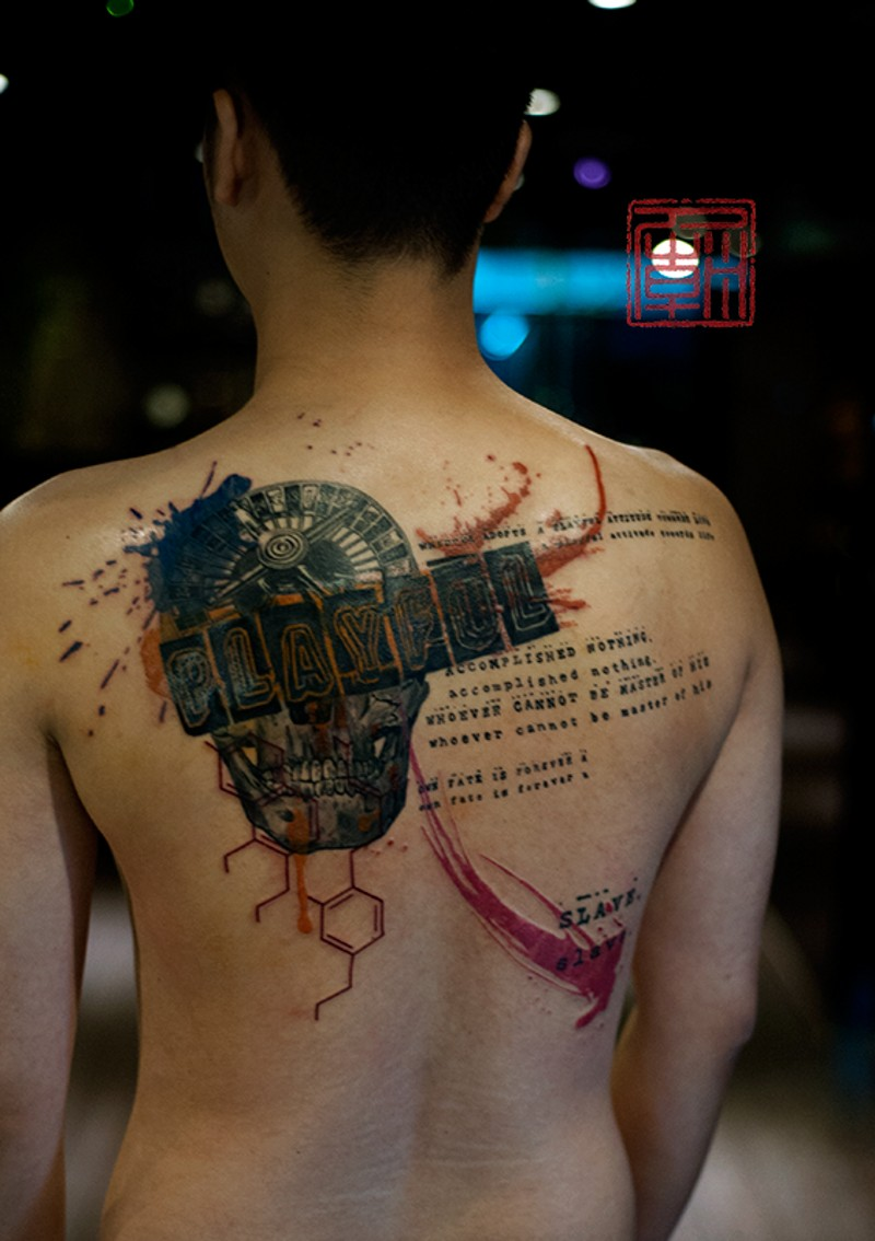 Roulette, skull and DNA gambling back colored tattoo in Polka trash style with lettering