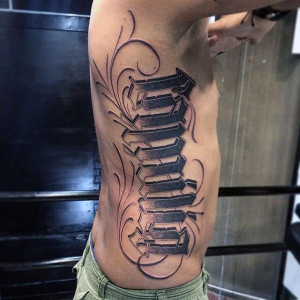 Simple black ink ambigram tattoo on side