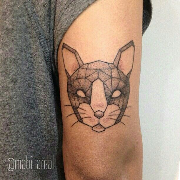 Simple geometrical style arm tattoo of cat mask