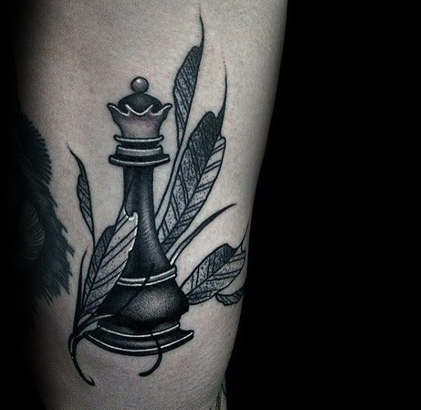 Simple homemade style arm tattoo of chess figure