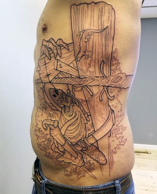 Simple illustrative style colored side tattoo of lineman skeleton
