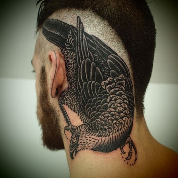 Simple illustrative style head tattoo of big bird
