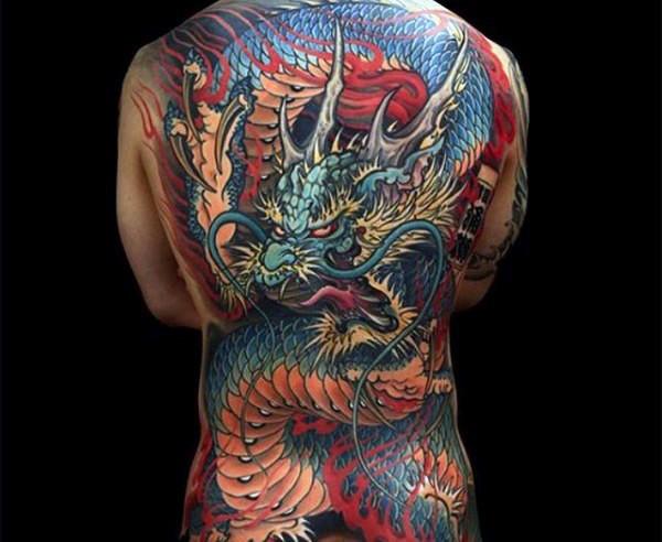 Simple illustrative style whole back tattoo of big dragon