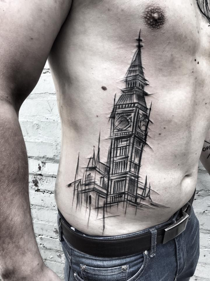 Simple linework style side tattoo of big clock  by Inez Janiak