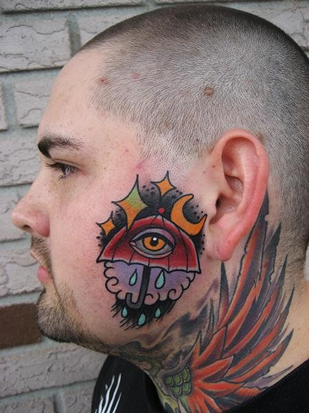 Simple mystical looking head tattoo of big umbrella and eye