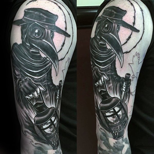 Simple old looking upper arm tattoo of plague doctor with gas lamp