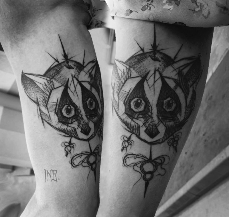 Simple sketch like raccoon tattoo by Inez Janiak