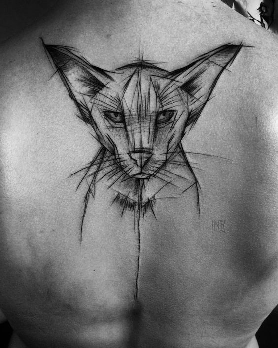 Sketch style black ink painted by Inez Janiak upper back tattoo of steady cat