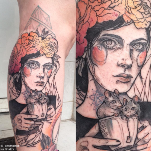 Sketch style colored leg tattoo of woman face with cup full of mouse and flowers