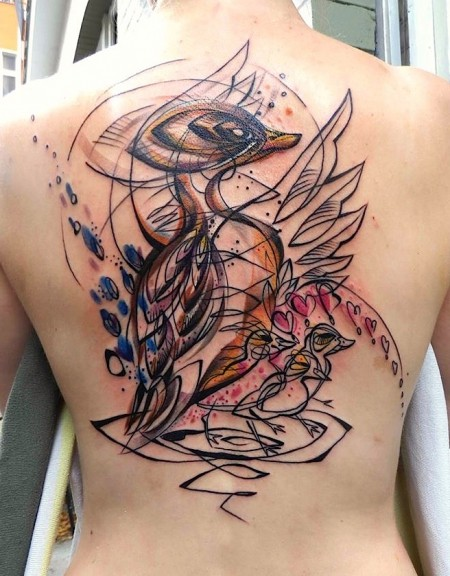 Sketch style colored whole back tattoo of cute birds family