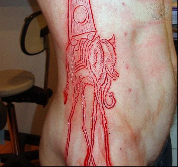 Skin scarification dali elephant on ribs