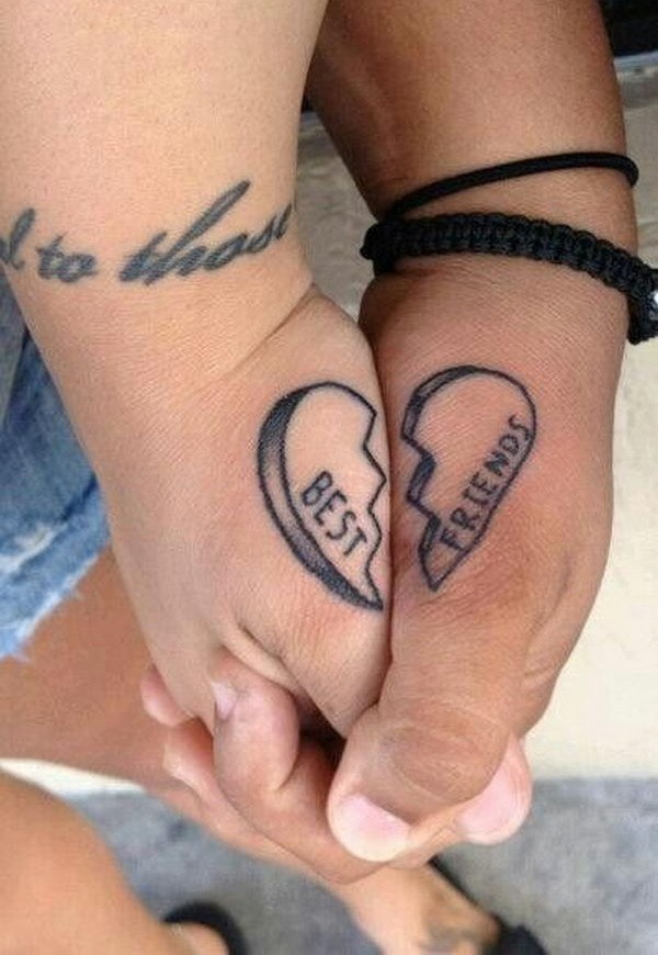 Small friendship tattoos puzzle heart