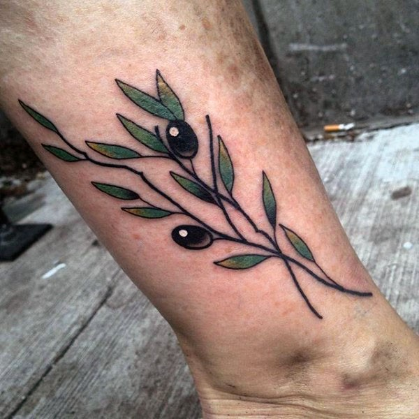 Small new school style colored ankle tattoo of olive tree