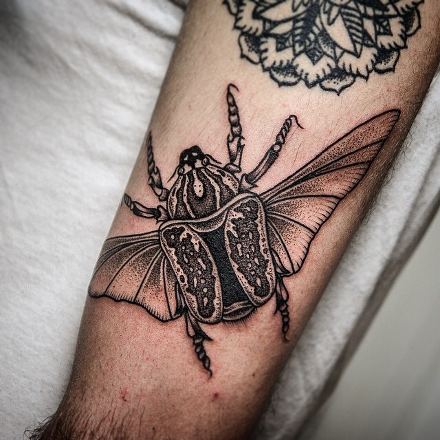 Stippling style black and white biceps tattoo of big bug