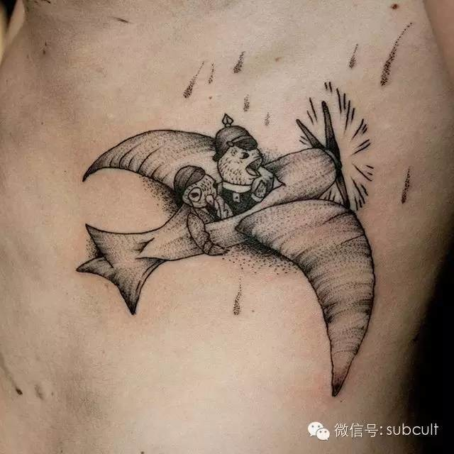Stippling style black ink side tattoo of flying fantasy plane with mouse