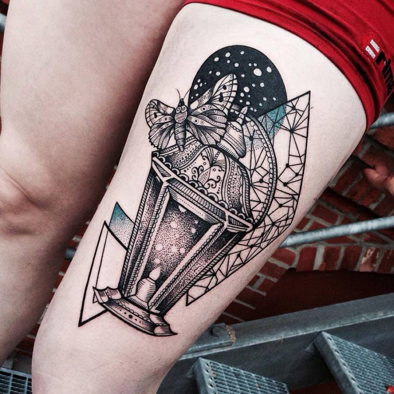 Stippling style black ink thigh tattoo of old lighter with butterfly