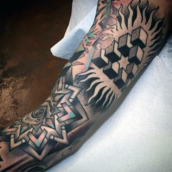 Stippling style colored arm tattoo of various geometric figures