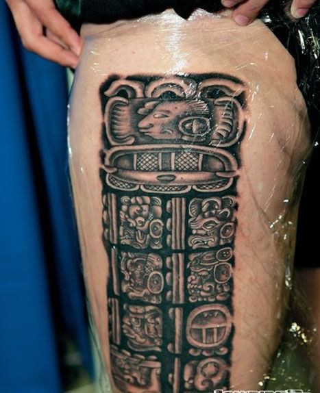 Stone aztec hieroglyphics pre spanish culture tattoo on hip
