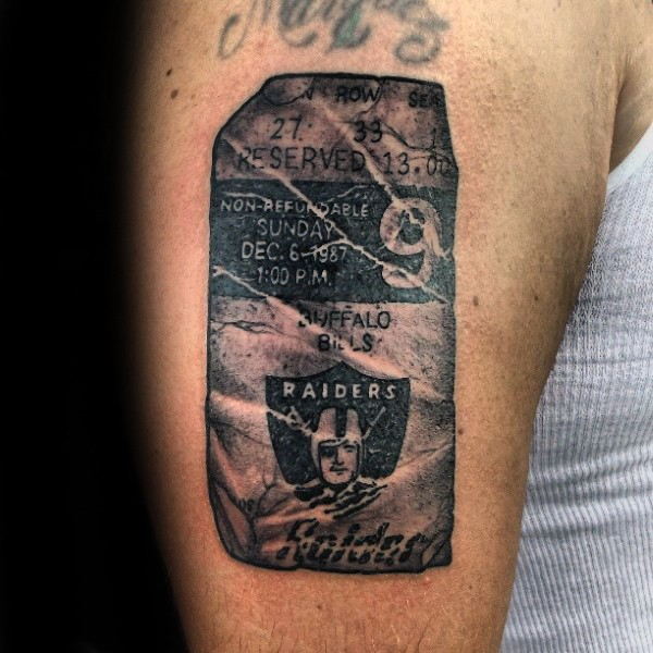 Stonework style black ink shoulder tattoo of big tablet with lettering
