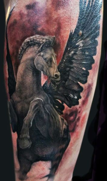 Stonework style colored tattoo of Pegasus horse statue
