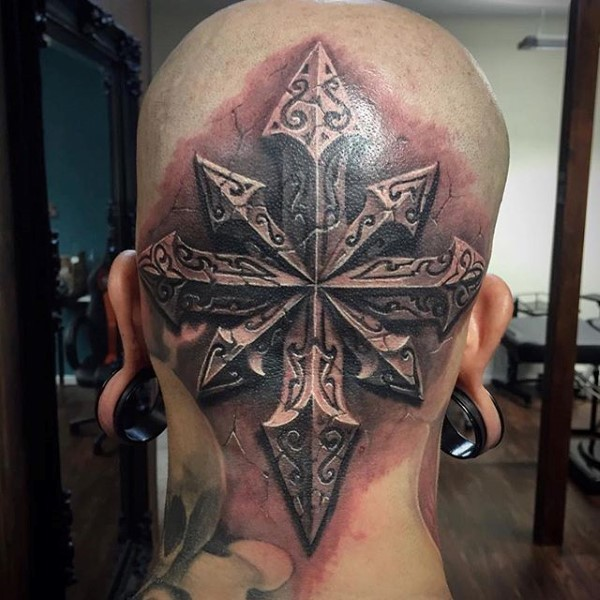 Stonework style detailed head tattoo of beautiful looking star with ornaments