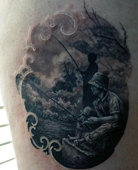 Stunning designed and painted black ink fishing family tattoo on thigh