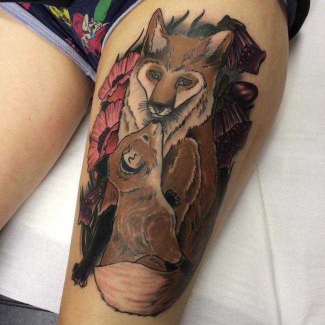 Stunning illustrative style colored thigh tattoo of fox family and flowers
