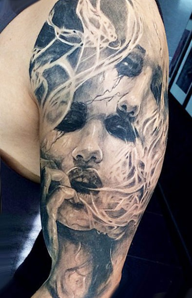 Stunning looking black ink half sleeve tattoo of creepy woman face with smoke