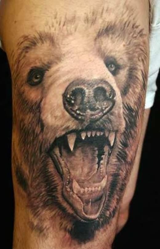 Super realistic grizzly bear tattoo