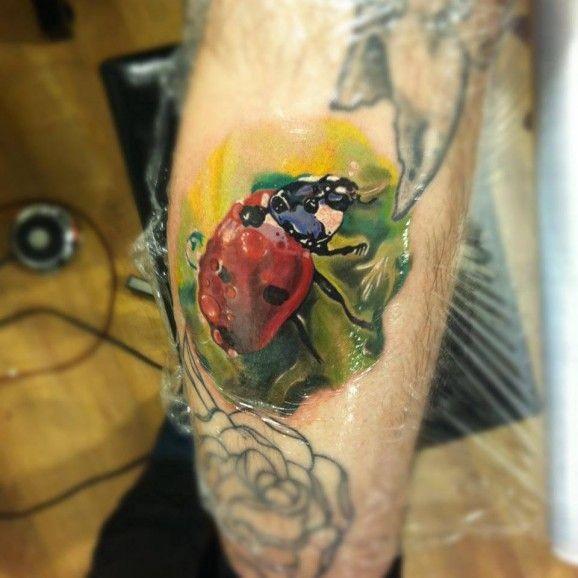 Super realistic lovely ladybug tattoo by Radu Rusu
