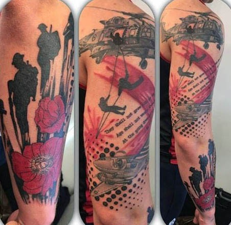 Superior designed and colored military memorial tattoo on sleeve with lettering