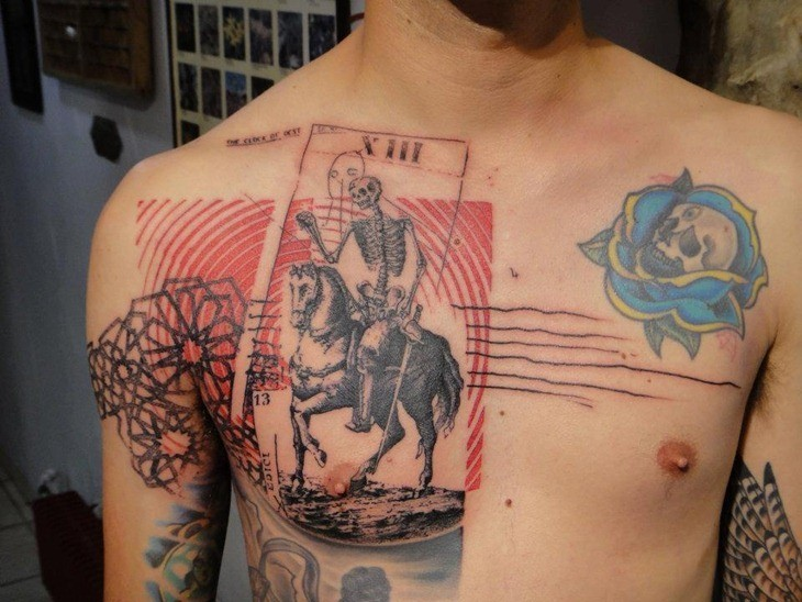 Surrealism style colored chest tattoo of skeleton horse rider card