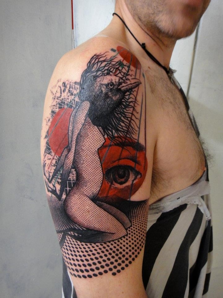 Surrealism style colored shoulder tattoo of woman with bird head  and big eye