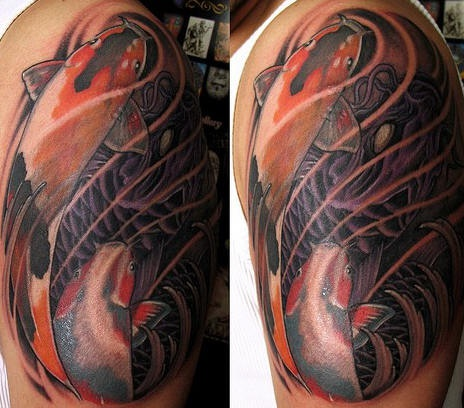 Koi fish realistic coloured tattoo