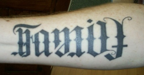 Ambigram text on hand