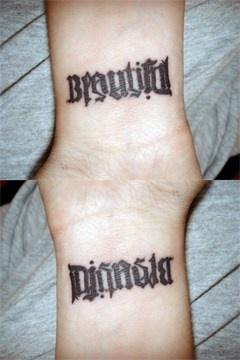 Ambigram word beautiful tattoo
