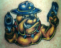 Sheriff bulldog with guns tattoo