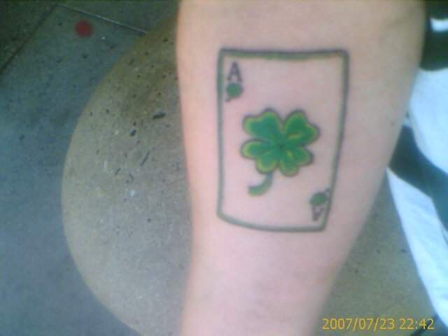 Lucky four leaf clover ace tattoo