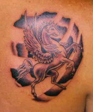 Pegasus black ink tattoo