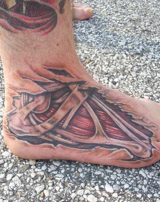 Flesh and bone skin rip tattoo