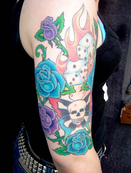 Blue and purple roses with skull and dice on fire