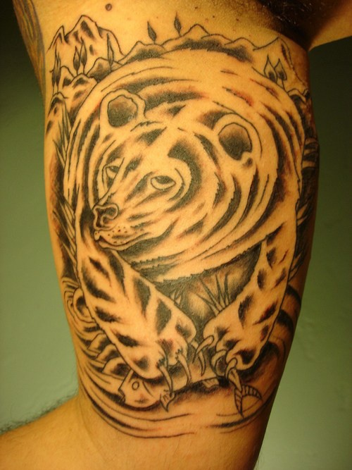 Grizzly bear catching salmon black tattoo